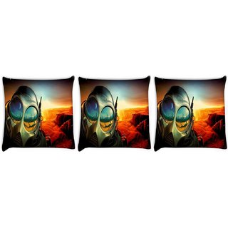 Snoogg Pack Of 3 Astronauts Mask Digitally Printed Cushion Cover Pillow 8 X 8 Inch