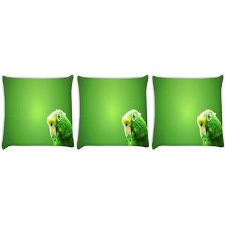 Snoogg Pack Of 3 Green Parrot Digitally Printed Cushion Cover Pillow 8 X 8 Inch