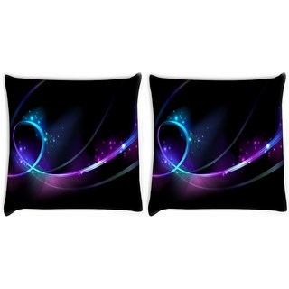 Snoogg Pack Of 2 Shinning Waves Digitally Printed Cushion Cover Pillow 8 X 8 Inch