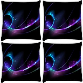 Snoogg Pack Of 4 Shinning Waves Digitally Printed Cushion Cover Pillow 8 X 8 Inch