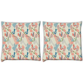 Snoogg Pack Of 2 Multiple Bird Art Digitally Printed Cushion Cover Pillow 8 X 8 Inch