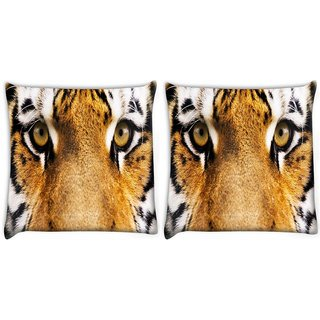 Snoogg Pack Of 2 Tiger Eyes Digitally Printed Cushion Cover Pillow 8 X 8 Inch