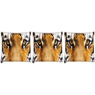 Snoogg Pack Of 3 Tiger Eyes Digitally Printed Cushion Cover Pillow 8 X 8 Inch