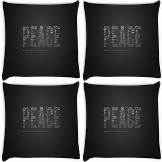 Snoogg Pack Of 4 Peace Digitally Printed Cushion Cover Pillow 8 X 8 Inch