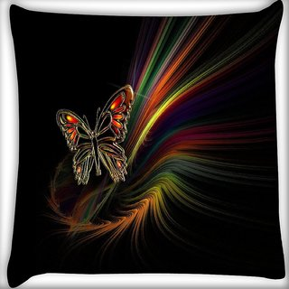 Snoogg Multicolor Butterfly Digitally Printed Cushion Cover Pillow 14 x 14 Inch