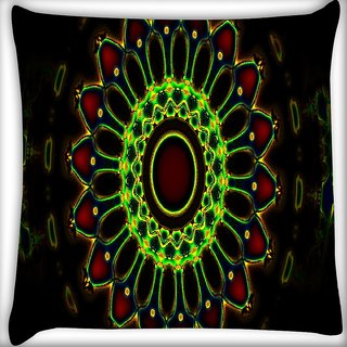 Snoogg Neon Colorful Chakra Design Digitally Printed Cushion Cover Pillow 14 x 14 Inch