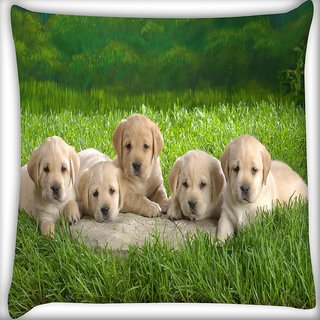 Snoogg Puppies Digitally Printed Cushion Cover Pillow 14 x 14 Inch