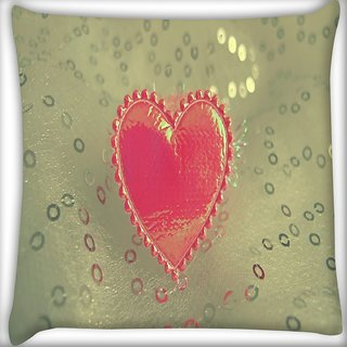 Snoogg Small Heart Digitally Printed Cushion Cover Pillow 14 x 14 Inch