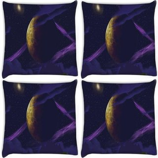 Snoogg Pack Of 4 Purple Galaxy Digitally Printed Cushion Cover Pillow 8 X 8 Inch