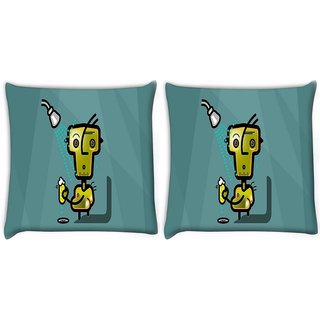 Snoogg Pack Of 2 Shower Digitally Printed Cushion Cover Pillow 8 X 8 Inch