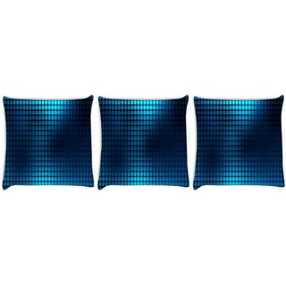 Snoogg Pack Of 3 Blue Spots Digitally Printed Cushion Cover Pillow 8 X 8 Inch