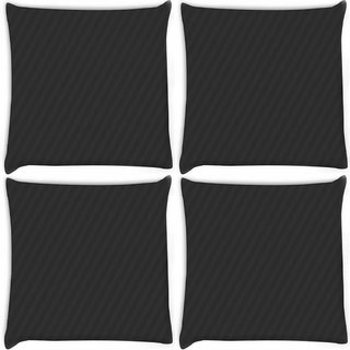 Snoogg Pack Of 4 Black Diagonal Stripes Digitally Printed Cushion Cover Pillow 8 X 8 Inch
