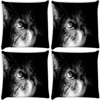 Snoogg Pack Of 4 Black White Animals Digitally Printed Cushion Cover Pillow 8 X 8 Inch