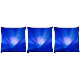Snoogg Pack Of 3 Blue In Abstract Wide Digitally Printed Cushion Cover Pillow 8 X 8 Inch