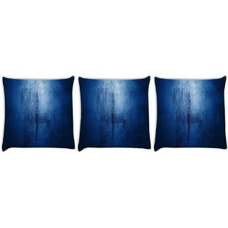 Snoogg Pack Of 3 Blue Grundgy Digitally Printed Cushion Cover Pillow 8 X 8 Inch