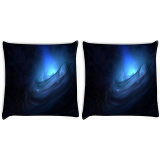 Snoogg Pack Of 2 Blue Nebula Digitally Printed Cushion Cover Pillow 8 X 8 Inch