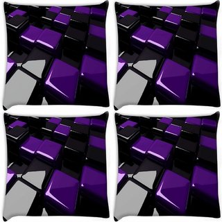 Snoogg Pack Of 4 Black And Purple Cube Digitally Printed Cushion Cover Pillow 8 X 8 Inch