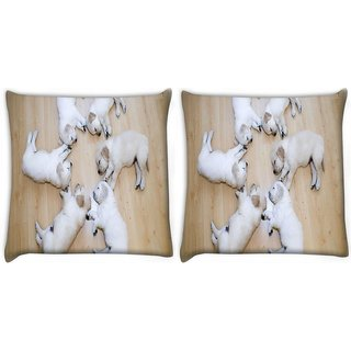 Snoogg Pack Of 2 Cute Dog Puppies Digitally Printed Cushion Cover Pillow 8 X 8 Inch