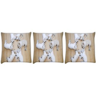 Snoogg Pack Of 3 Cute Dog Puppies Digitally Printed Cushion Cover Pillow 8 X 8 Inch