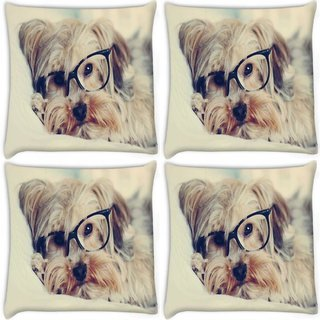 Snoogg Pack Of 4 Cute Dog With Glasses Digitally Printed Cushion Cover Pillow 8 X 8 Inch