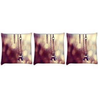 Snoogg Pack Of 3 Cute Eiffel Tower Digitally Printed Cushion Cover Pillow 8 X 8 Inch