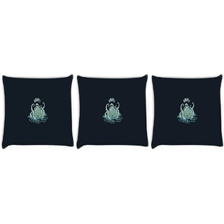 Snoogg Pack Of 3 Cute Octopus Funny Digitally Printed Cushion Cover Pillow 8 X 8 Inch