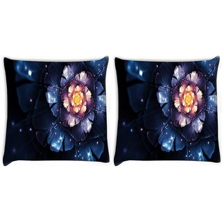 Snoogg Pack Of 2 Beautiful Blue Flower Digitally Printed Cushion Cover Pillow 8 X 8 Inch