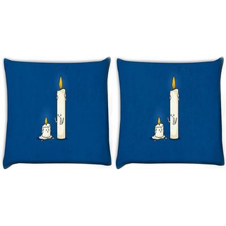 Snoogg Pack Of 2 Dying Candle Digitally Printed Cushion Cover Pillow 8 X 8 Inch