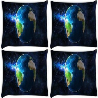 Snoogg Pack Of 4 Earth Free Wallpaper Digitally Printed Cushion Cover Pillow 8 X 8 Inch