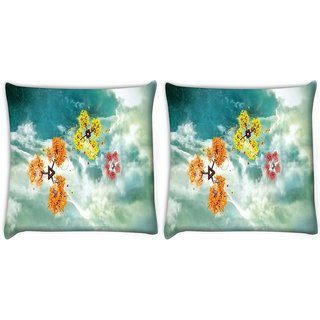 Snoogg Pack Of 2 Geometric Shapes Digitally Printed Cushion Cover Pillow 8 X 8 Inch