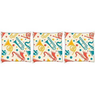 Snoogg Pack Of 3 Music Instruments Digitally Printed Cushion Cover Pillow 14 x 14 Inch
