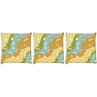 Snoogg Pack Of 3 White Music Digitally Printed Cushion Cover Pillow 14 x 14 Inch