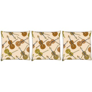Snoogg Pack Of 3 Violin Digitally Printed Cushion Cover Pillow 14 x 14 Inch