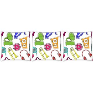 Snoogg Pack Of 3 Colorful Music Set Digitally Printed Cushion Cover Pillow 14 x 14 Inch