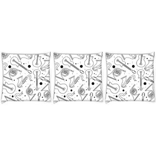 Snoogg Pack Of 3 Black Instruments Digitally Printed Cushion Cover Pillow 14 x 14 Inch