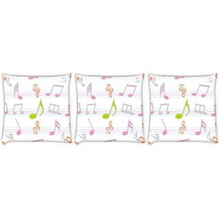 Snoogg Pack Of 3 Colorful Music Strings Digitally Printed Cushion Cover Pillow 14 x 14 Inch