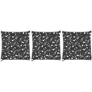 Snoogg Pack Of 3 White Strings Digitally Printed Cushion Cover Pillow 14 x 14 Inch