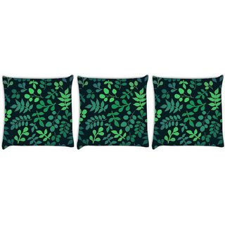 Snoogg Pack Of 3 Green Leaves Digitally Printed Cushion Cover Pillow 8 X 8 Inch