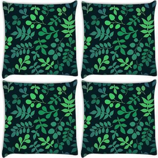 Snoogg Pack Of 4 Green Leaves Digitally Printed Cushion Cover Pillow 8 X 8 Inch