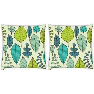 Snoogg Pack Of 2 Abstract Leaves Digitally Printed Cushion Cover Pillow 8 X 8 Inch