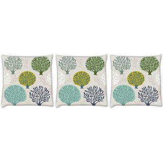 Snoogg Pack Of 3 Abstract Trees Digitally Printed Cushion Cover Pillow 8 X 8 Inch