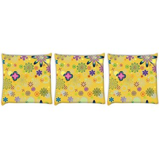 Snoogg Pack Of 3 Yellow Floral Pattern Digitally Printed Cushion Cover Pillow 8 X 8 Inch