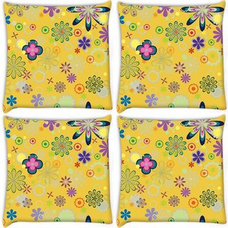 Snoogg Pack Of 4 Yellow Floral Pattern Digitally Printed Cushion Cover Pillow 8 X 8 Inch