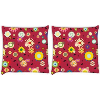 Snoogg Pack Of 2 Red Pattern Floral Digitally Printed Cushion Cover Pillow 8 X 8 Inch