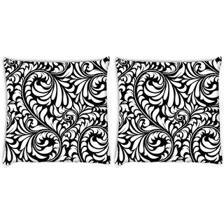 Snoogg Pack Of 2 White Leaves Digitally Printed Cushion Cover Pillow 8 X 8 Inch