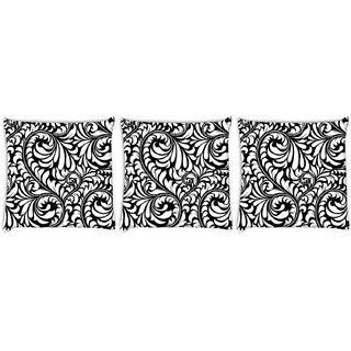 Snoogg Pack Of 3 White Leaves Digitally Printed Cushion Cover Pillow 8 X 8 Inch