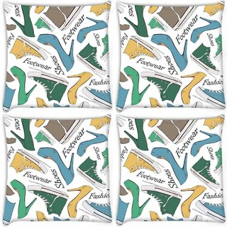 Snoogg Pack Of 4 Footwear Digitally Printed Cushion Cover Pillow 8 X 8 Inch