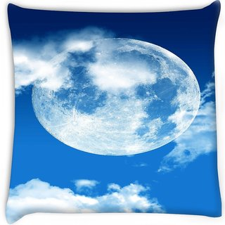 Snoogg  blue sky moon Digitally Printed Cushion Cover Pillow 14 x 14 Inch