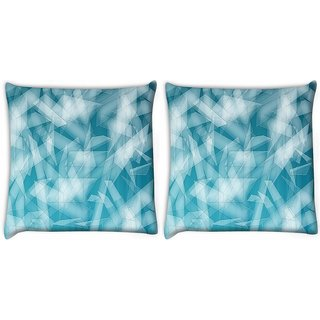 Snoogg Pack Of 2 Abstract Blue Glasses Digitally Printed Cushion Cover Pillow 8 X 8 Inch
