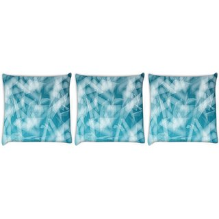 Snoogg Pack Of 3 Abstract Blue Glasses Digitally Printed Cushion Cover Pillow 8 X 8 Inch